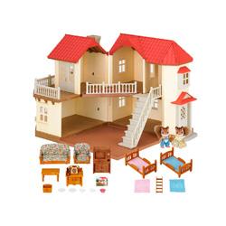 casa de muñecas con muebles e iluminacion
