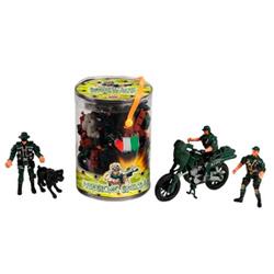 cubo con soldaditos de plástico de juguete