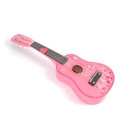 guitarra de juguete de madera color rosa