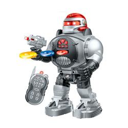 robot teledirigido dispara discos